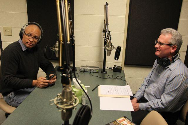 Writer and satirist Larry Wilmore, left, speaking with Campbell Conversations host Grant Reeher