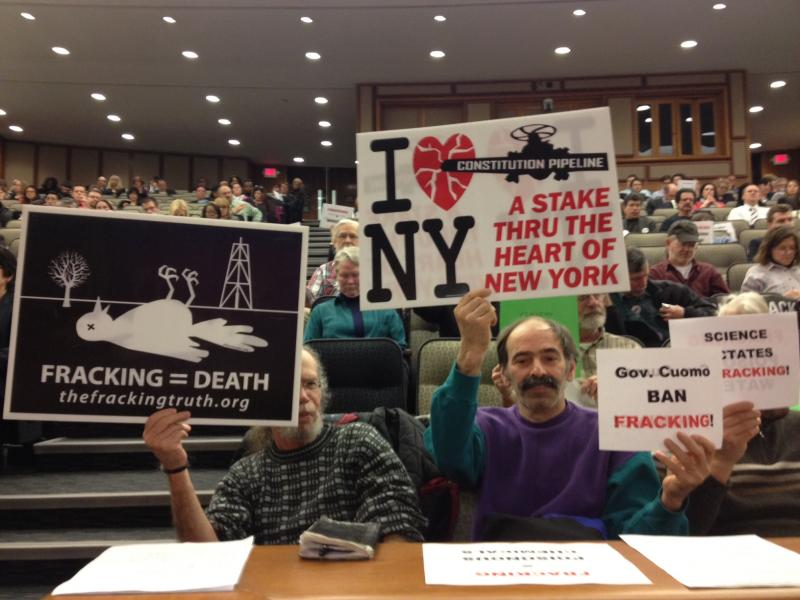 Anti-fracking protesters from Frack Action attend the Joint Legislative Fiscal Committee's budget hearing on Monday, where Gov. Andrew Cuomo's Health Commissioner Dr. Nirav Shah answered questions.