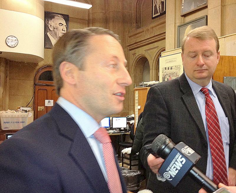 Westchester County Executive Rob Astorino speaks with reporters in Albany.