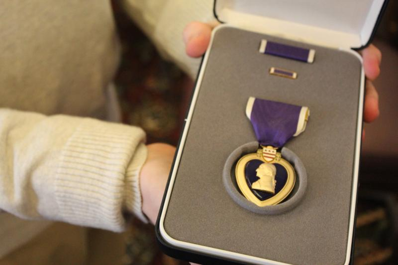 Faulkner's Purple Heart in its case.