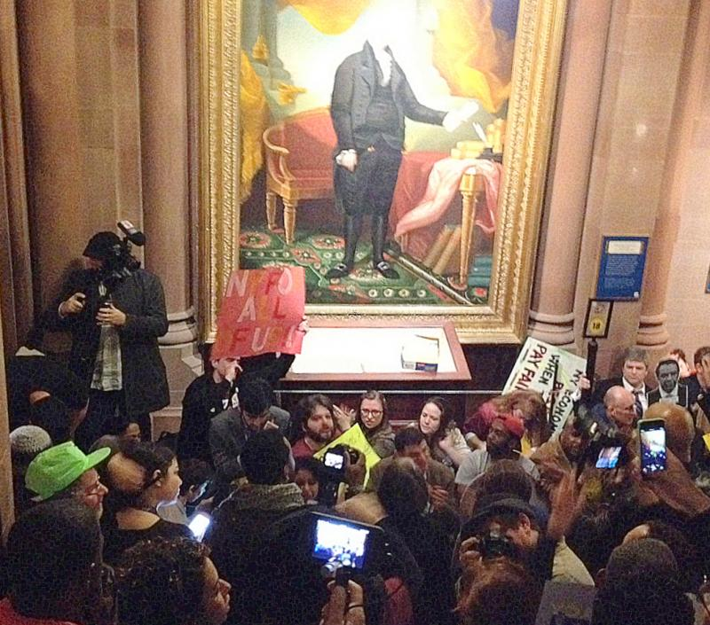 Protesters rally at the state Capitol on Thursday.