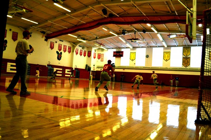 The Baldwinsville High School baseball team has been forced by cold weather to practice indoors all spring.