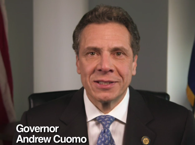 A screenshot of Gov. Andrew Cuomo during an ad for his upstate New York budget plan.