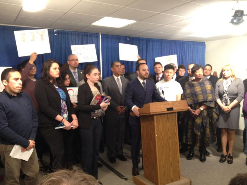 Assemblyman Francisco Moya speaks at a news conference held by supporters of the Dream Act at the Capitol Tuesday.