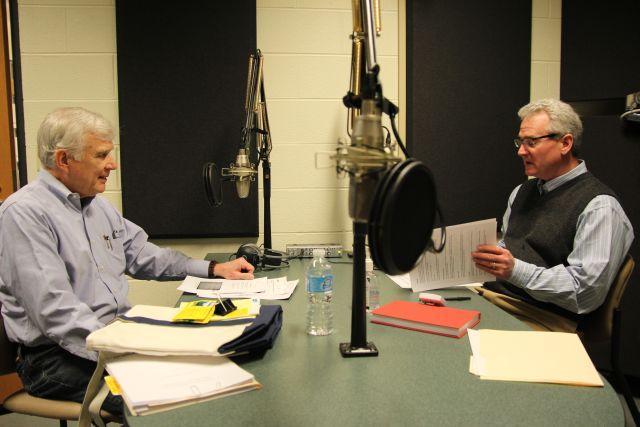 Syracuse University Geography Professor Mark Monmonier (left) speaks with Campbell Conversations host Grant Reeher