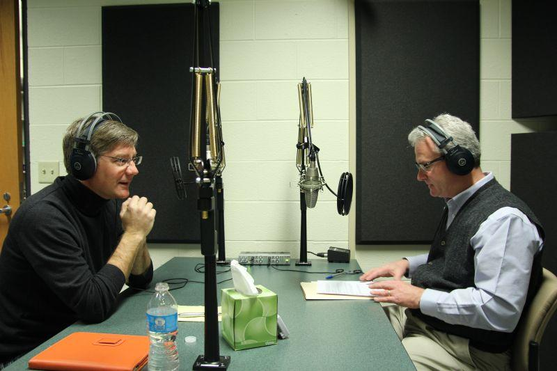 Syracuse Media Group President Tim Kennedy (left) speaks with Campbell Conversations host Grant Reeher