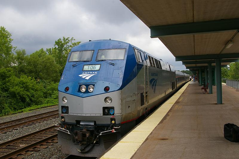 An Amtrak train pulls into the Syracuse regional transportation hub.