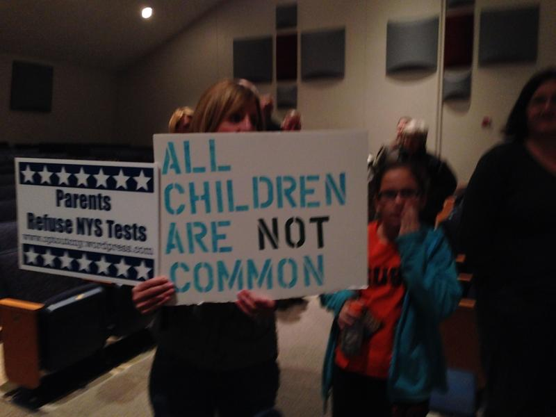 Parents protest Common Core at a forum in Fayetteville in December.