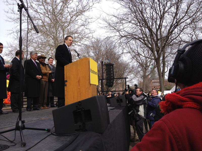Gov. Andrew Cuomo speaks at an educational rally in Albany on Tuesday.