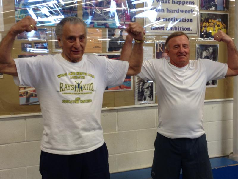 Ray Rinaldi (left) and state Sen. John DeFrancisco weigh in for Saturday's fight.