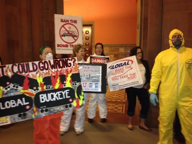 Environmentalists protestor oil transportation through New York state in Albany Tuesday.