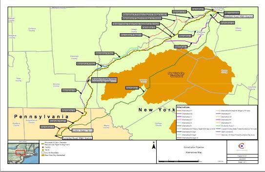 The proposed pipeline would run through Pennsylvania and into New York.
