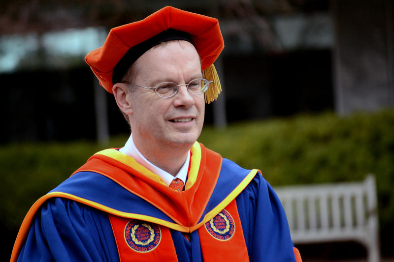 Kent Syverud, Syracuse University's 12th chancellor, enters Hendricks Chapel during his inauguration ceremony.