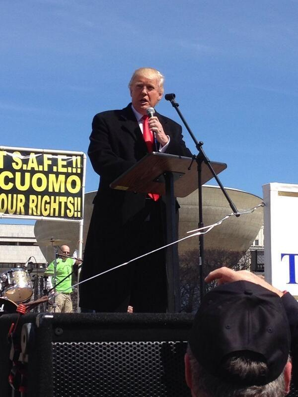 Donald Trump speaks at to a rally against the SAFE Act in Albany