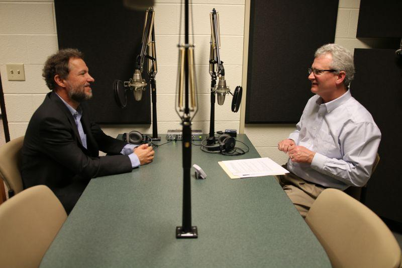 Stephen Zunes, left, speaking with Campbell Conversations host Grant Reeher