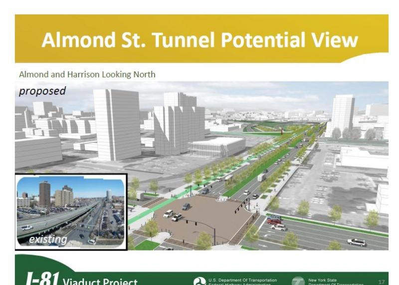 An artist rendering of what Almond St. in downtown Syracuse could look like with Interstate 81 tunneled below it.