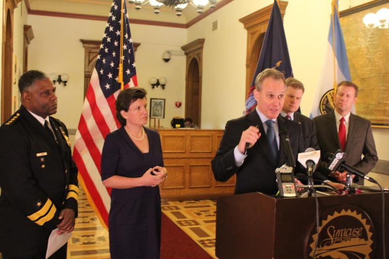 Syracuse Police Chief Frank Fowler, Syracuse Mayor Stephanie Miner, New York State Attorney General Eric Schneiderman, Rep. Dan Maffei (D-Syracuse), New York State Sen. David Valesky (D-Oneida) at news conference in Syracuse Friday.
