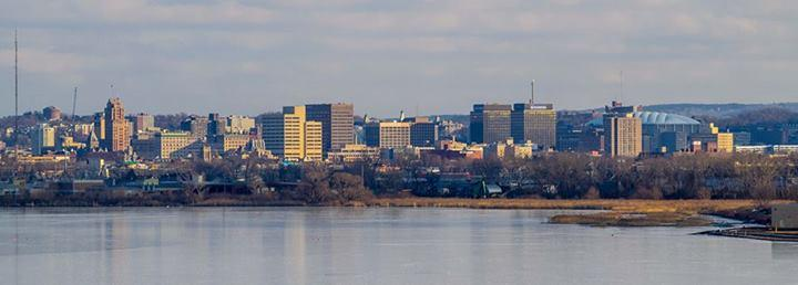 A view of Syracuse from the Onondaga Lake Park Trail.