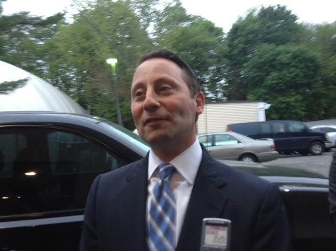 GOP nominee for governor Rob Astorino speaks to reporters  on the first night of the Republican convention in Westchester