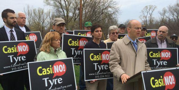Protesters gather to oppose a new casino being proposed in Tyre.