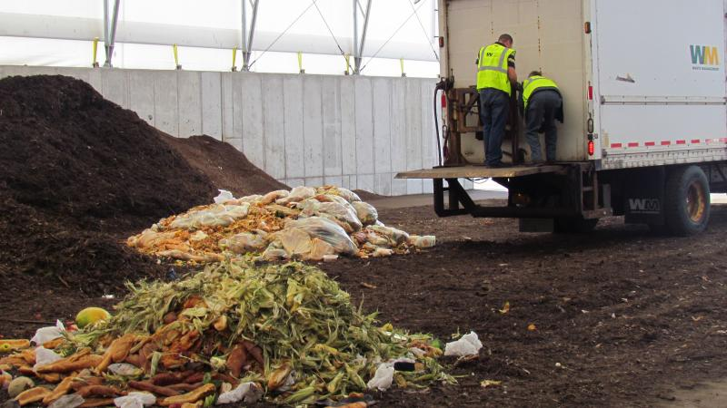 Waste is being transformed into compost at the OCRRA facility in Amboy.