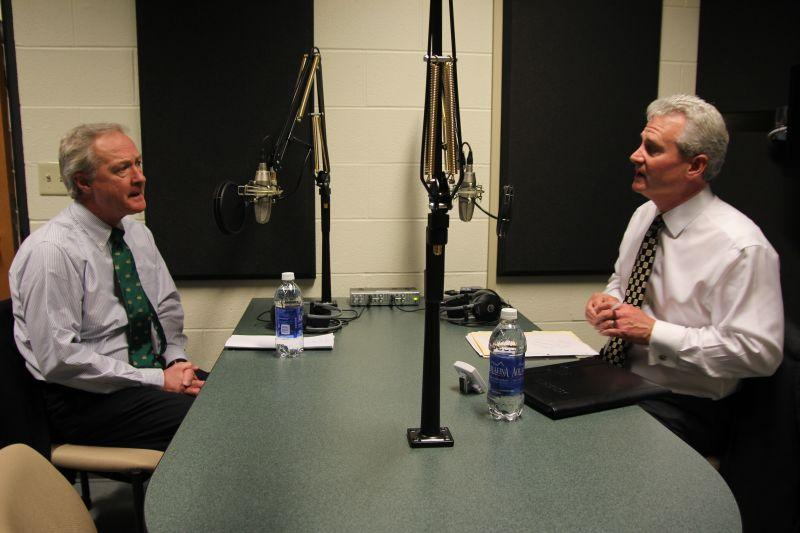 Rhode Island Gov. Lincoln Chafee, left, speaks with Campbell Conversations host Grant Reeher