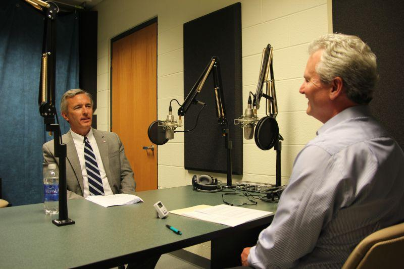 John Katko, left, republican candidate for New York's 24th Congressional district seat, speaks with Campbell Conversations host Grant Reeher