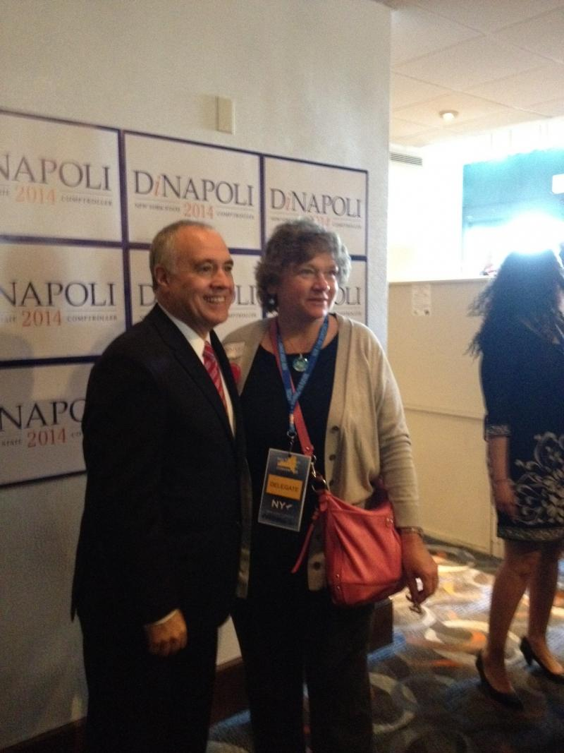 Comptroller Tom DiNapoli poses with a supporter during the Democratic Party convention.