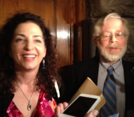 Medical marijuana legislation sponsors Sen. Diane Savino and Assemblyman Richard Gottfried talk with reporters.