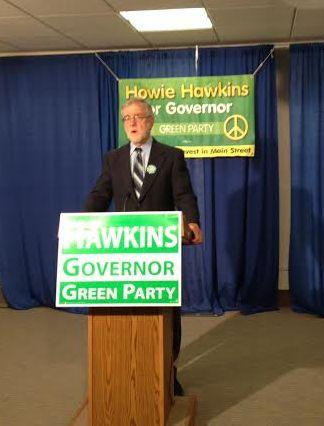 Howie Hawkins, Green Party candidate for governor, appears in Albany.