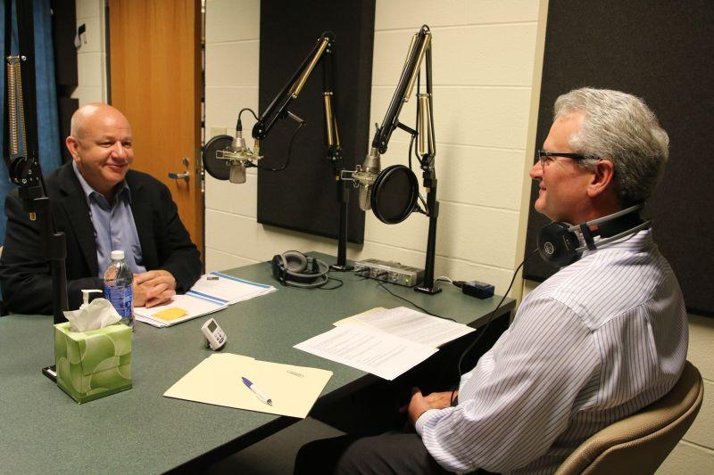 CNY Arts Executive Director Steve Butler, left, speaks with Campbell Conversations host Grant Reeher