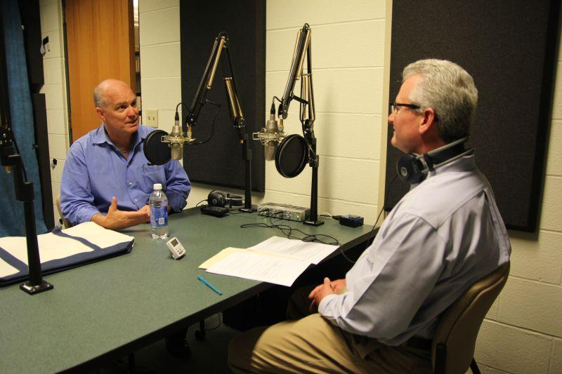 David Cobb, left, of Move to Amend, speaks with Campbell Conversations host Grant Reeher