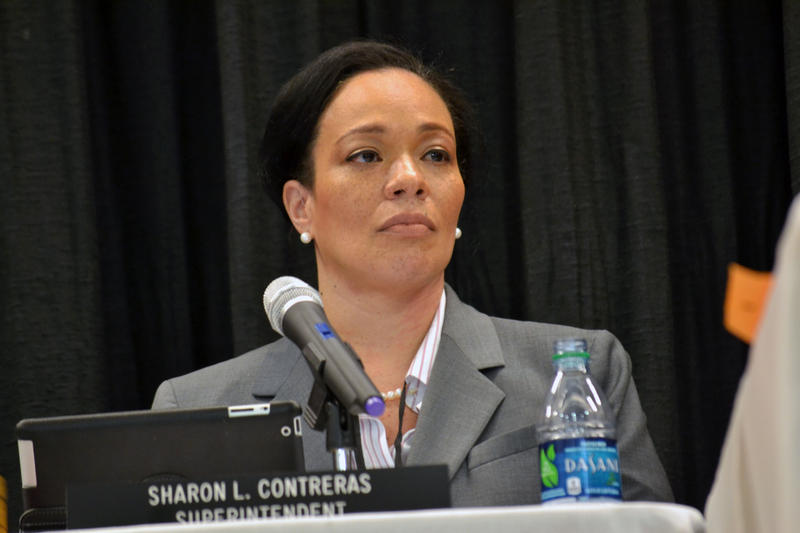 Syracuse school superintendent Sharon Contreras at a school board meeting last week.