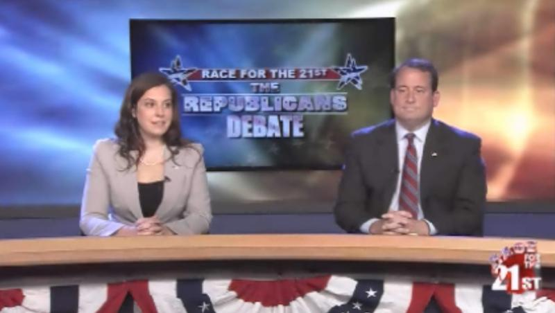 Elise Stefanik and Matt Doheny during a debate on WWNY.