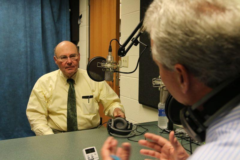 David Holwerk, left, speaks with Campbell Conversations host Grant Reeher