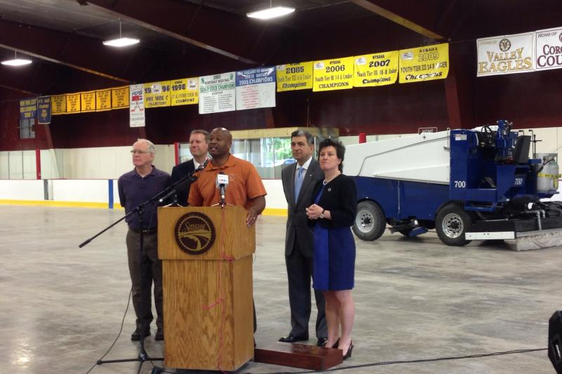 Syracuse Mayor Stephanie Miner is joined by Sen. Dave Valesky and Assemblyman Bill Magnarelli to make the Meachem Ice Rink announcement.