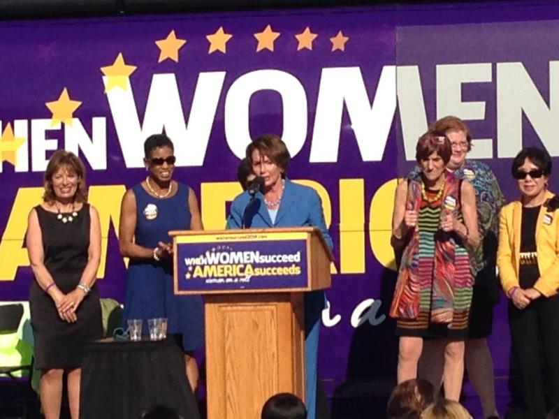 House Minority Leader Nancy Pelosi on a stop in Albany during her bus tour on women's issues.