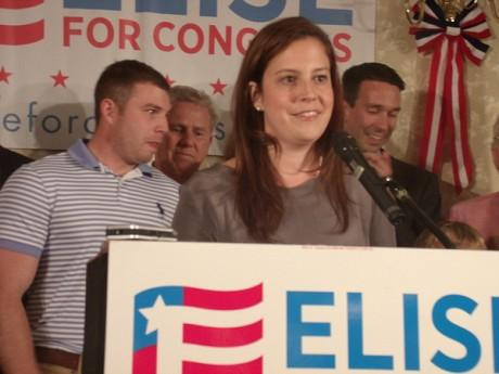 Republican Elise Stefanik declares victory in Glens Falls Tuesday night, with her family and GOP county leaders behind her.