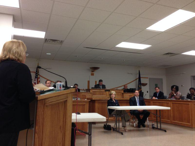 Jamesville resident Vicki Baker, left, speaks to Onondaga County legislators about the county's proposed 'Trash to Ash' plan