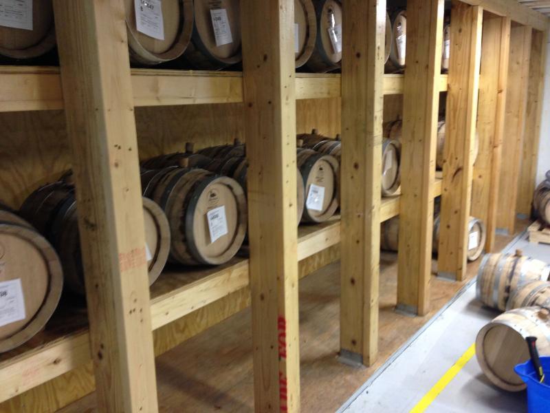 Oak barrels that Aidrondack Distilling Company stores their bourbon in.