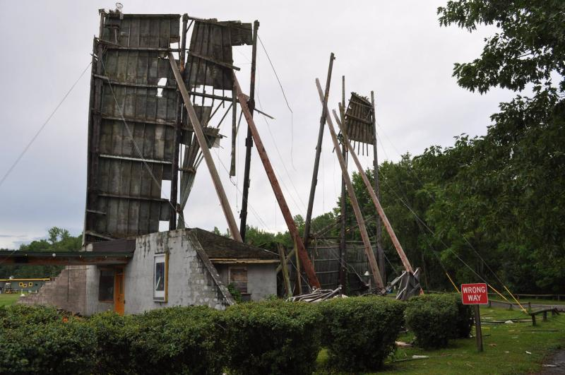 The screen at the Midway Drive-In in Minetto is destroyed by the storm