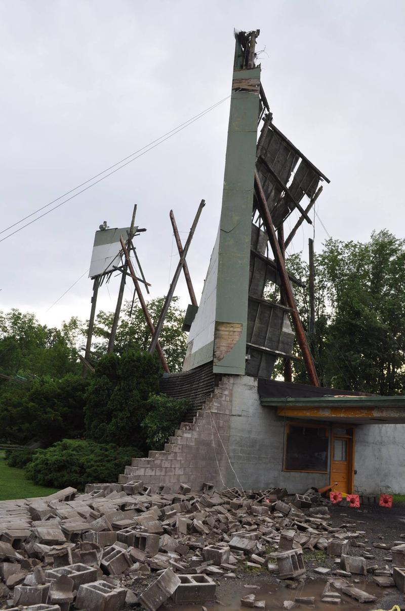 The midway Drive-In in Minetto suffered severe damage from Tuesday's storm