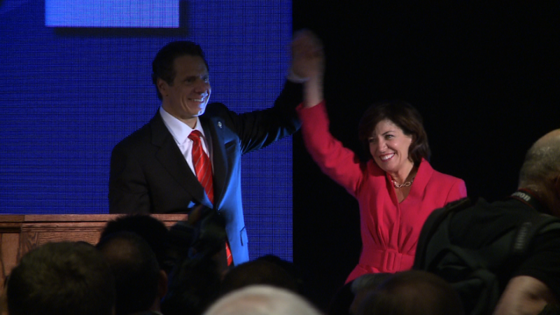 Kathy Hochul joins Gov. Andrew Cuomo to announce their candidacy during the Democratic state convention in May.