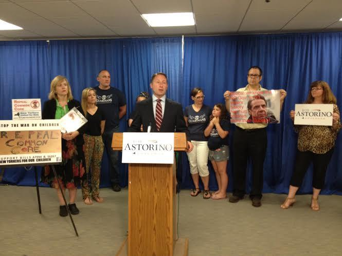 Rob Astorino, the GOP candidate for governor, at a press conference opposing the Common Core learning standards Tuesday.