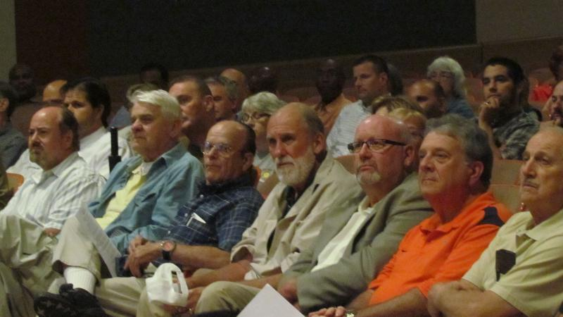 Residents listen to the presentation about the Onondaga Lake project at a meeting in Solvay Wednesday evening
