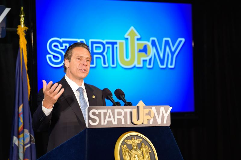 Gov. Andrew Cuomo in Buffalo Monday talking about StartUp NY before answering the media's questions about the Moreland Commission controversy
