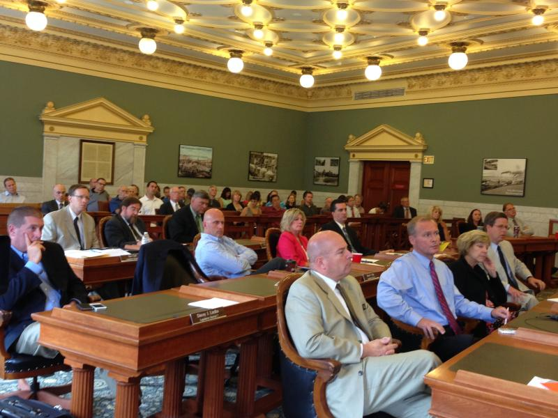 Members of the Onondaga County Legislature listen to public comments regarding Solvay's $100 million amphitheater project.