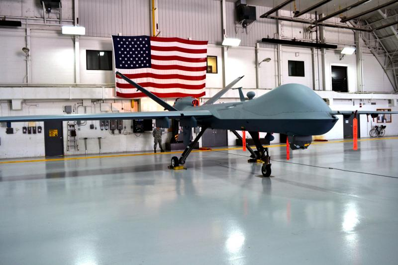 An MQ-9 Reaper drone in the hanger at Hancock Airfield in Syracuse.