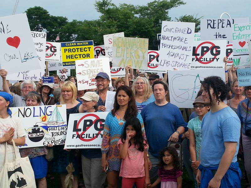 Hundreds of protestors gather on the shores of Seneca Lake to protest proposed gas storage facilities