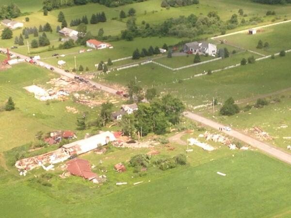 An aerial view of the damage in Smithfield